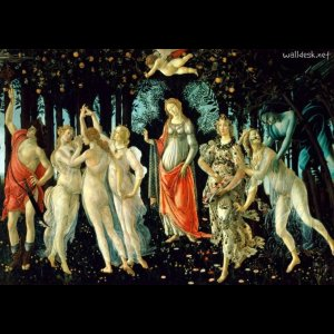 Sandro Botticelli. A Primavera. Têmpera sobre painel, 203x314cm, Galeria Uffizi, Florença. Fonte: UFFIZI1, 2014.